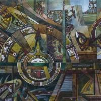 Лист «В поисках первоисточника» из триптиха Бум., акварель 40.5х56 2012 год