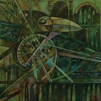 Лист «Чертог Лебедя» из триптиха «Сварожий круг» Смеш. техника 40х40 2013 год