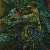 Лист «Чертог Ворона» из триптиха «Сварожий круг» Смеш. техника 40х40 2013 год
