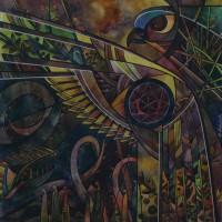 Лист «Чертог Финиста» из триптиха «Сварожий круг» Смеш. техника 40х40 2013 год