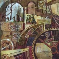 Лист «Основы изобретательства» из триптиха Бум., акварель 42х42 2011 год