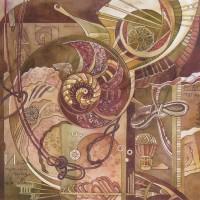 Лист «Великое изобретение Монгольфье» из триптиха Бум., акварель 2011 год