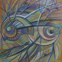 Лист «Рыбы» из серии «Зодиак» Пастель 40х40 2014 год