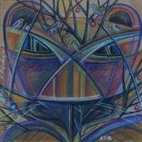 Лист «Лев» из серии «Зодиак» Пастель 40х40 2014 год