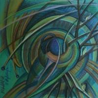 Лист «Водолей» из серии «Зодиак» Пастель 40х40 2014 год