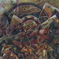 "лист ""Бубен Шамана"" из триптиха ""Горная Шория"" Смеш. техника, 40х40, 2015 год"