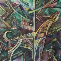 """Лист 1. Верный страж из триптиха """"На Шорской земле"""" Бум., смеш. техника, 40х40 см, 2016 год"""