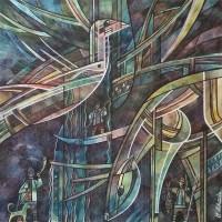 """Лист 2. В поисках добычи из триптиха """"На Шорской земле"""" Бум., смеш. техника, 40х40 см, 2016 год"""