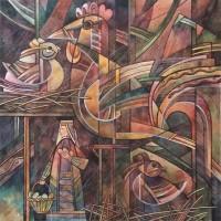 """Лист 3. День и ночь из триптиха """"На Шорской земле"""" Бум., смеш. техника, 40х40 см, 2016 год"""