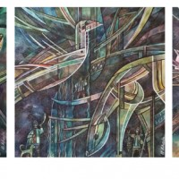 "триптих ""На Шорской земле"" Бум., смеш. техника, 40х40, 40х40, 40х40, 2016 год"