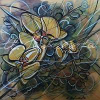 В райском саду. Орхидеи 5 Смеш. техника 18х18 2015 год