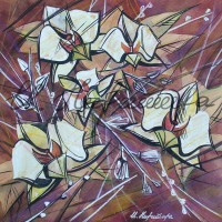 В райском саду. Орхидеи 6 Смеш. техника 18х18 2015 год