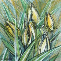 В райском саду. Тюльпаны 4 Смеш. техника 18х18 2015 год