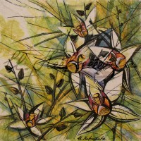В райском саду. Орхидеи 1 Смеш. техника 18х18 2015 год