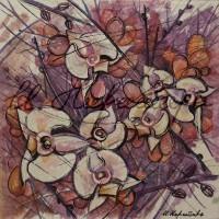 В райском саду. орхидеи 2 Смеш. техника 18х18 2015 год
