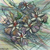 В райском саду. Орхидеи 4 Смеш. техника 18х18 2015 год