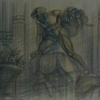 Люксембургский сад Тон. бум., цв. карандаши 30х40 13.08.15 год