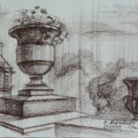 Люксембургский сад Сепия 21х30 17.07.15 год