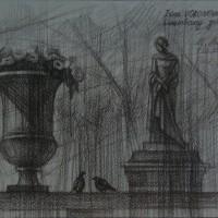 Люксембургский сад 2 Черный карандаш 21х30 7.08.15 год