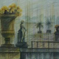 Люксембургский сад диптих часть 1 Акварель цв. карандаши 30х40 22.07.15 год