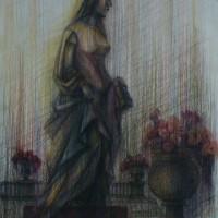 Люксембургский сад диптих часть 1 Акварель цв. карандаши 40х30 8.08.15 год