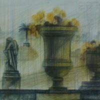 Люксембургский сад диптих часть 2 Акварель цв. карандаши 30х40 19.07.15 год
