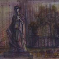 Люксембургский сад диптих часть 2 Акварель цв. карандаши 30х40 13.08.15 год