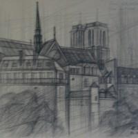 Вид с набережной отеля де Вилль Тон. бум., черный карандаш 30х40 16.007.15 год