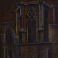 Собор сент жермен и святого Протаиса Тон. бум., с. пастель 40х30 6.08.15 год