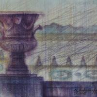 Версаль диптих часть 1 Акварель цв. карандаши 21х30 25.07.15 год