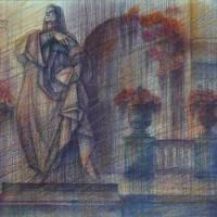 Прогулки по Парижу, диптих. Лист 1. В Люксембургском саду Бум., акварель, цв. карандаши, 35х56 2015 год