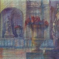 Прогулки по Парижу, диптих. Лист 2. В Люксембургском саду Бум., акварель, цв. карандаши, 35х56 2015 год