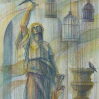 Прогулки по Парижу, диптих. Лист 1. В саду Тюэльри Бум., акварель, цв. карандаши, 50х40 2015 год