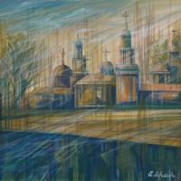 Прогулки по Вильнюсу, цикл. Часть 1. Март. Х., акрил, 40х50 см, 2016 год
