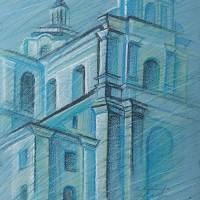 Собор святого Дуча. Вильнюс 2016 Бум., с. пастель, 50х32 2016 год