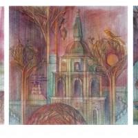 Сон о Вильнюсе триптих Бум., акварель, цв. карандаши 2016 год
