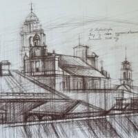 Вид из окна художественной академии. Вильнюс Бум., сепия, 30х40 см 2016 год