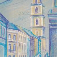 Вид на колокольню. Вильнюс. Тон. бум., с. пастель, 50х32 2016 год