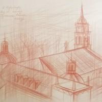 Вид на площадь Гедиминаса. Вильнюса Бум., сепия, 30х40, 2016 год