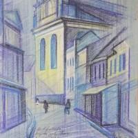 Вид на улицу Пиелес. Вильнюс Тон. бум., с. пастель, 50х32 см 2016 год