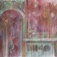 "Лист 1 из триптиха ""Сон о Вильнюсе"" Бум., акварель, цв. карандаши 40х56 2016 год"